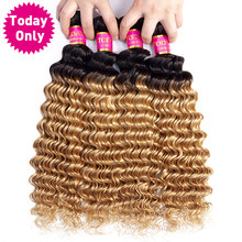 TODAY ONLY Brazilian Deep Wave 3 / 4 Bundles Brazilian Hair Weave Bundles Blonde Human Hair Bundles Ombre Human Hair Extensions(China)