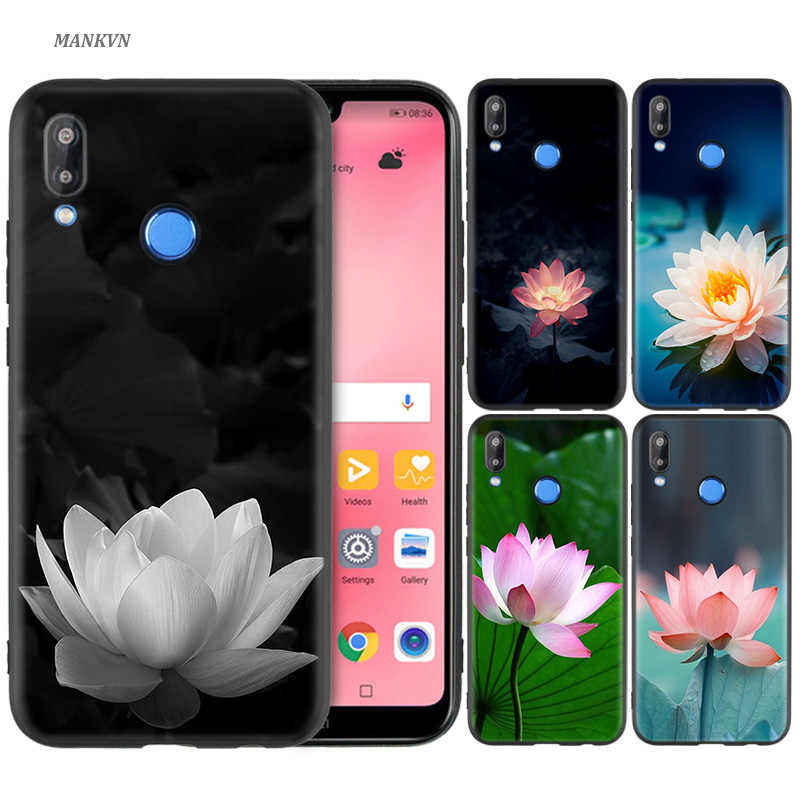 Black Silicone Case Bag Cover for Huawei P30 P20 P10 P9 P8 Mate 10 20 Lite 2017 Mini Pro P Smart Plus 2019 Monet Garden Lotus