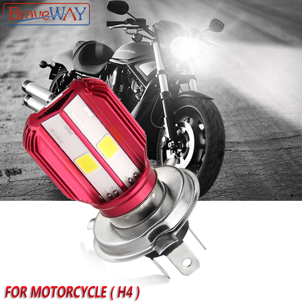 BraveWay 1PC Motorcycle LED Headlight 12V Bulb for Scooter Motorbike Moto Bike Autocycle