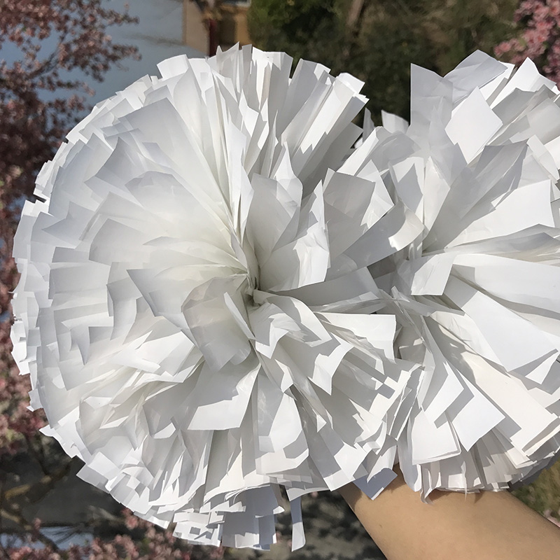 Cheerleader Pom pom Plastic White poms 1,000*3/4 *6 Fully 150G Baton Handle Game Cosplay Poms One Pair