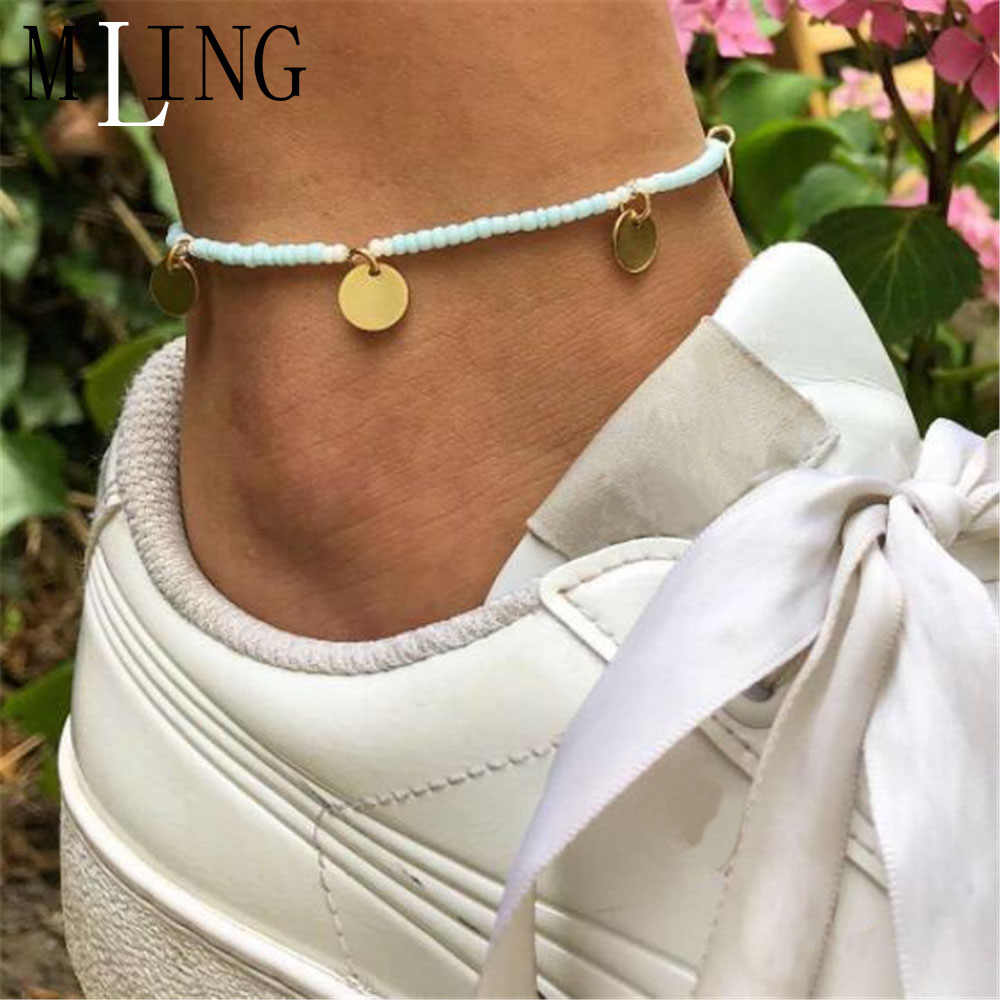 MLING 2019 Fashion Gold Circle Beach Ocean Bracelet Anklet Bohemian Beads Sequin Pendant Anklet For Women