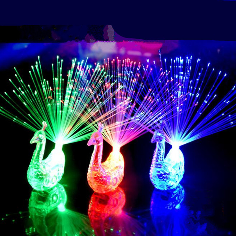 5pcs Novelty Fancy Peacock Opens Fiber Light Change Color Finger Light for Wedding Party Christmas Halloween Little Gift