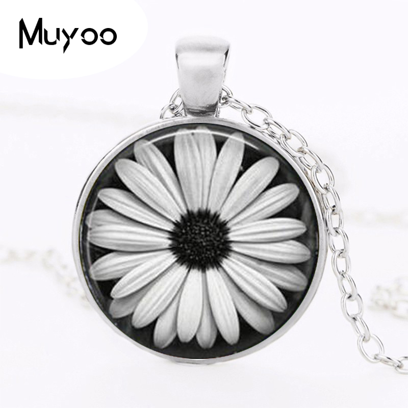 Daisy Necklace Glass Tile Jewelry Flower Necklace Flower Jewelry Daisy Pendant HZ1