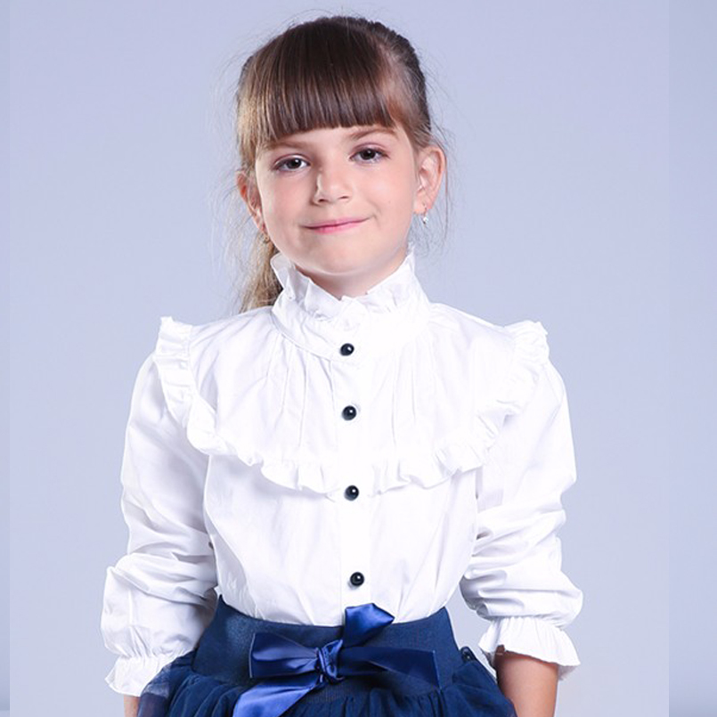 Girl Ruffled Shirt Kids White Clothes Teenager Slim Waist Blouse Fashion Infant Tops School Uniforms Shirts Long-Sleeve Clothing