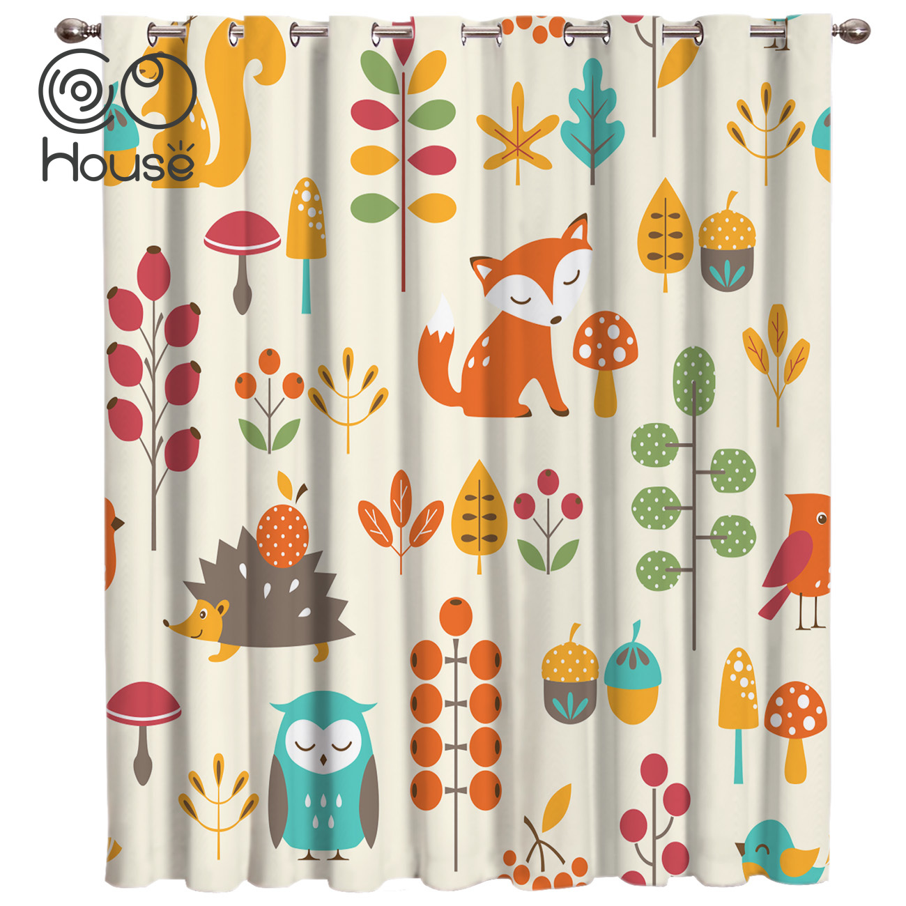 COCOHouse Autumn Fall Cute Children Hedgehog Fox Window Curtains Dark Living Room Outdoor Fabric Drapes Kids Curtain Panels With