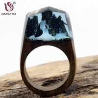 DANZE Luxury Handmade Resin Wooden Magic Snow Mountain Forest Miniature World Rings For Women Fashion Jewelry