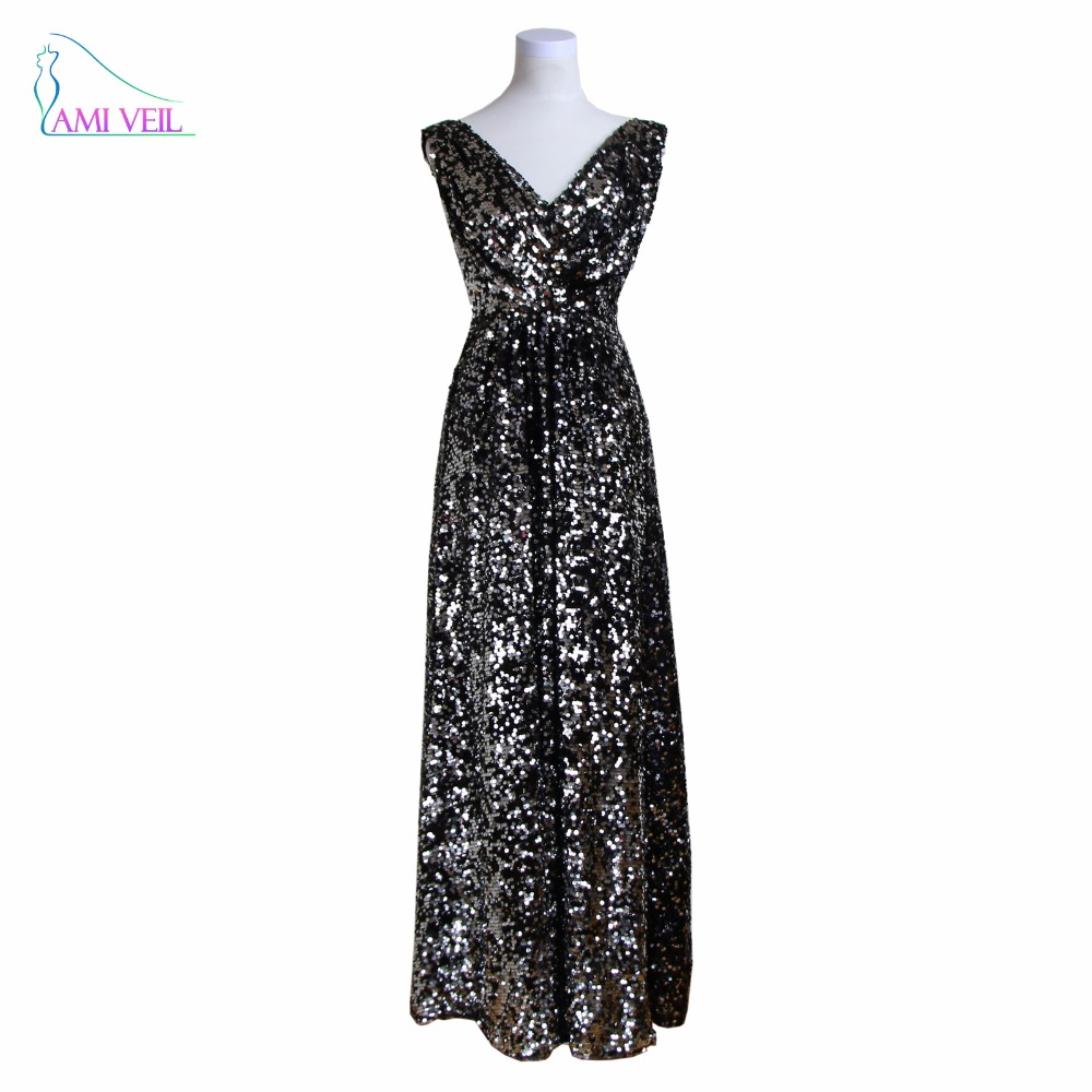 Silver Sequin Evening Dresses for Veiled Long Black Gowns V Neck ...