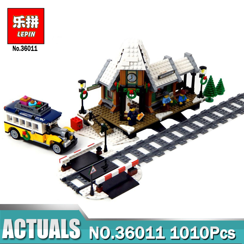 Lepin 36011 The Winter Village Station Set Compatible Legoing 10259 Creative Series Building Blocks Bricks Toys As Boy`s Gift new lepin 16009 1151pcs queen anne s revenge pirates of the caribbean building blocks set compatible legoed with 4195 children