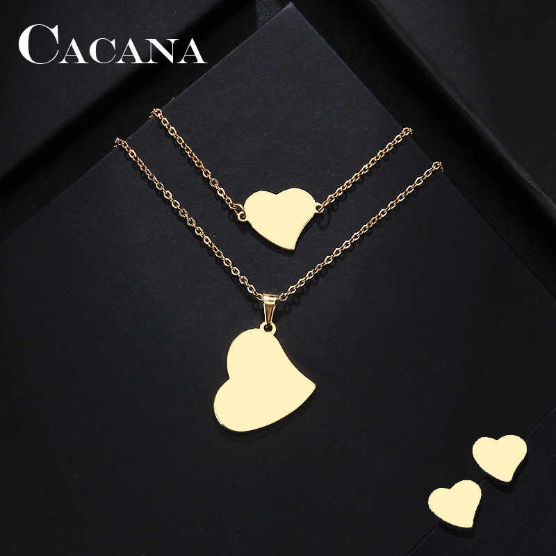 CACANA Stainless Steel Sets For Women Real Heart Shape Necklace Bracelets Earrings For Women Lover's Engagement Jewelry S331