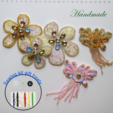 1pc 3D flowers Rhinestone beaded Patches for clothing DIY sew on sequin rhinestone parches Beaded appliques hats bags