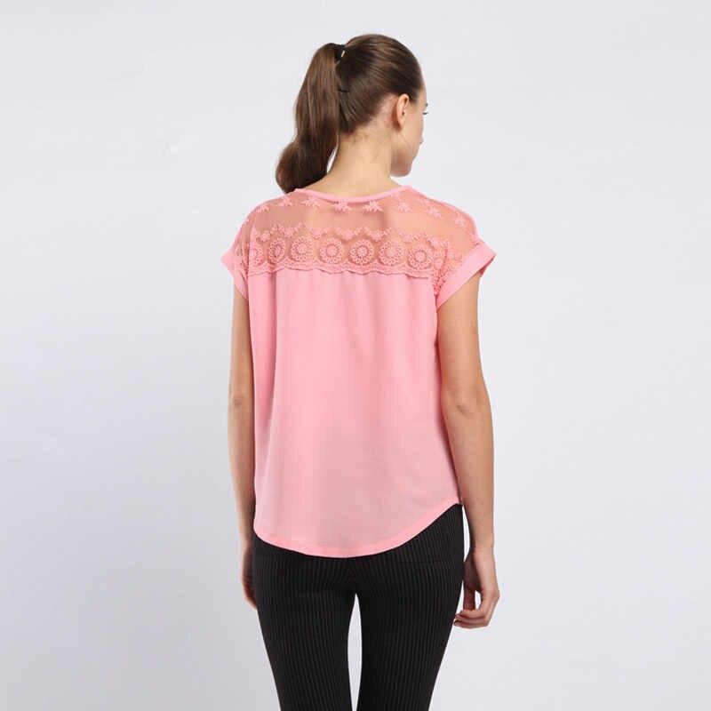 韓国ファッション女性のトップスやブラウスシフォンブラウス夏レース Blusas Feminina ピンク女性半袖シャツプラスサイズ 5XL