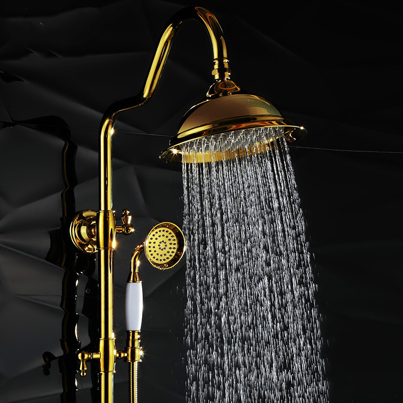 Système de douche mural pomme de douche de 8 pouces robinet de douche de pluie en laiton doré de luxe avec interrupteur de poignée poignée de pommeau de douche