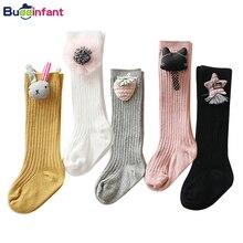 Длинные носки для маленьких девочек гольфы для маленьких девочек, яркие цвета, теплые хлопковые носки под сапоги модные носки принцессы
