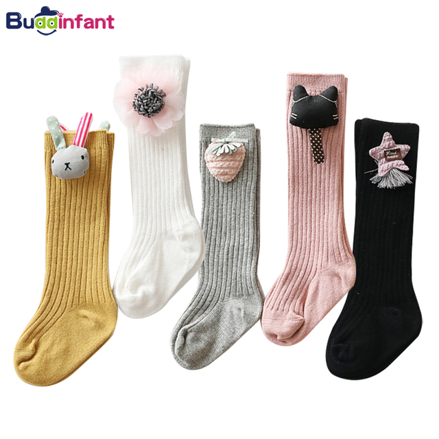 Длинные носки для маленьких девочек гольфы для маленьких девочек ярких цветов, теплые хлопковые гетры модные носки принцессы