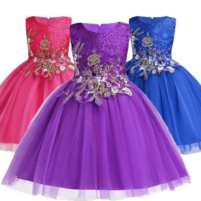 a9d679776 Ropa de bebé niñas vestido de encaje de flores para niñas niños sin mangas  bordado vestido de fiesta de cumpleaños DESFILE INFANTIL niños vestido