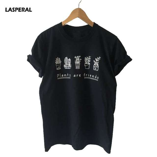 91f7f5afe LASPERAL Super Soft Unisex Summer Top Blusa Plants Are Friends Shirt Tee T- shirt Screen Print Loose Women Shirt Trees T shirt