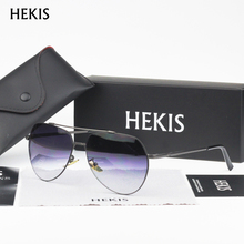 HEKIS Brand Fashion Unisex Sun Glasses Black Gradient Lens Sunglasses Round Male Eyewear For Men Women B2743