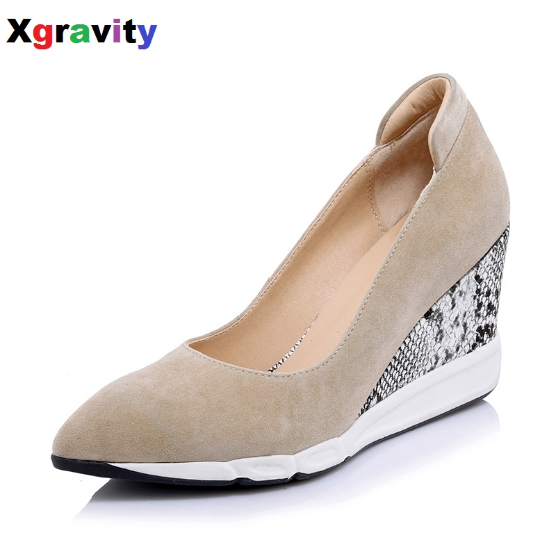 Hot Sale 2017 New  European American Autumn Fashion Wedge Shoes Genuine Leather Snakeskin Heel Lady Sexy Dress Party Shoes B276 2016 autumn spring shoes european american high heel wedges girl s wedding shoes genuine leather bridal wedge shoes c065