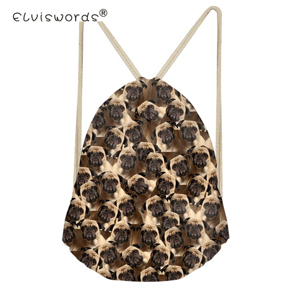 ELVISWORDS School Girls Small Drawstring Bag Boston Terrier Pug Print Women's Mochila Storage Bags Cinch Shoulder Bags For Shoes