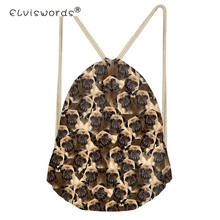 ELVISWORDS School Girls Small Drawstring Bag Boston Terrier Pug Print Women's Mochila Storage Bags Cinch Shoulder Bags for Shoes