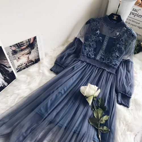 New Arrivals Women Lace Flower Dress Long Gauze Lantern Sleeve Voile Long Dress Female Retro Hook Princess Dress 2 Piece Set