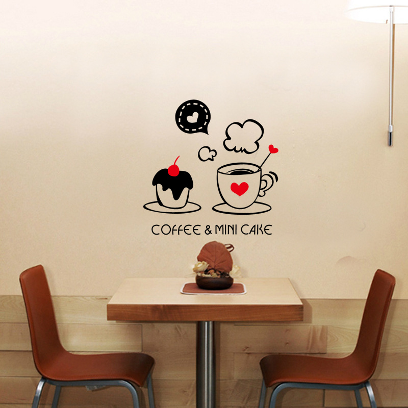 New design cute coffee coffee cup pattern home - Stickers miroir cuisine ...