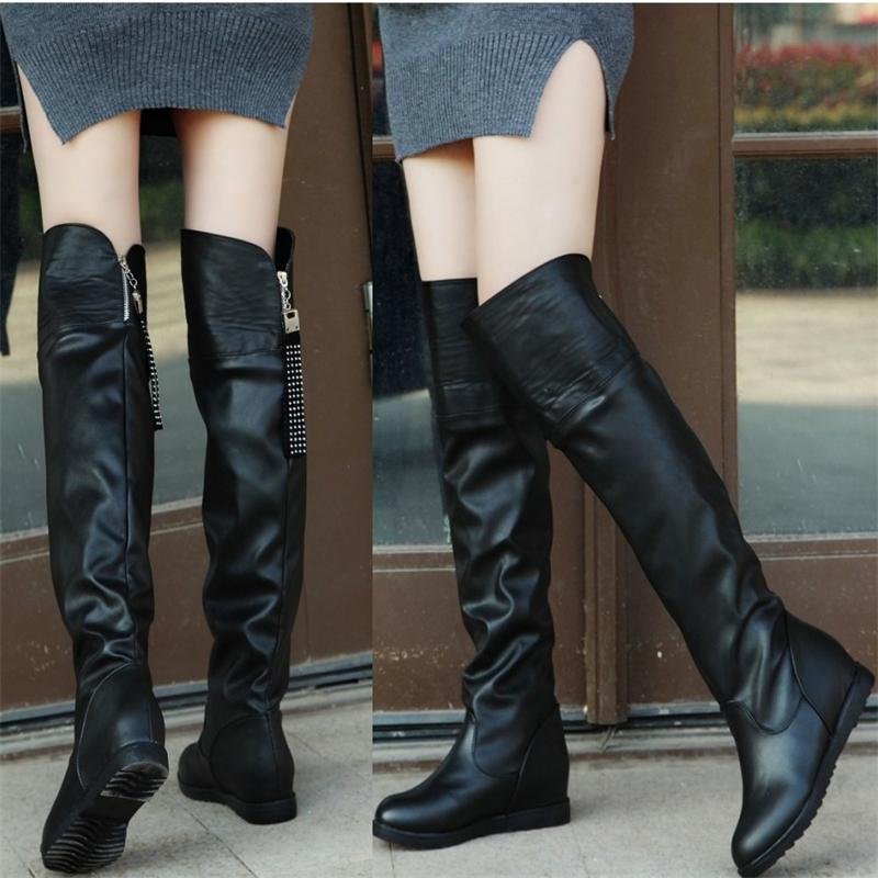 women boots new warm down lady leather snow boots round toe platform female thigh high boots over knee winter botas riding new arrival winter flat heel over the knee women boots round toe snow boots knee high warm winter female boots black brown white