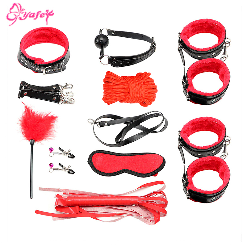 10PCS/set Leather bdsm bondage Restraints Adult Games Sex Toys for Couples Woman Slave Game SM Sexy Erotic Toys Handcuff Leather10PCS/set Leather bdsm bondage Restraints Adult Games Sex Toys for Couples Woman Slave Game SM Sexy Erotic Toys Handcuff Leather
