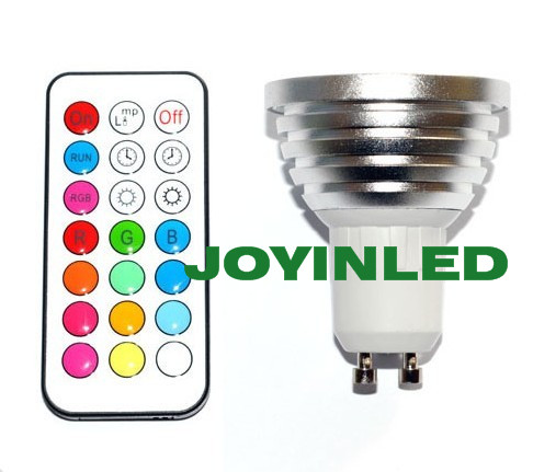 3W 4W RGB LED Spotlight GU10 E27 LED Globe Bulb Lamps 16 Colors Change 110-245v Home Party Decoration With IR Remote Controller