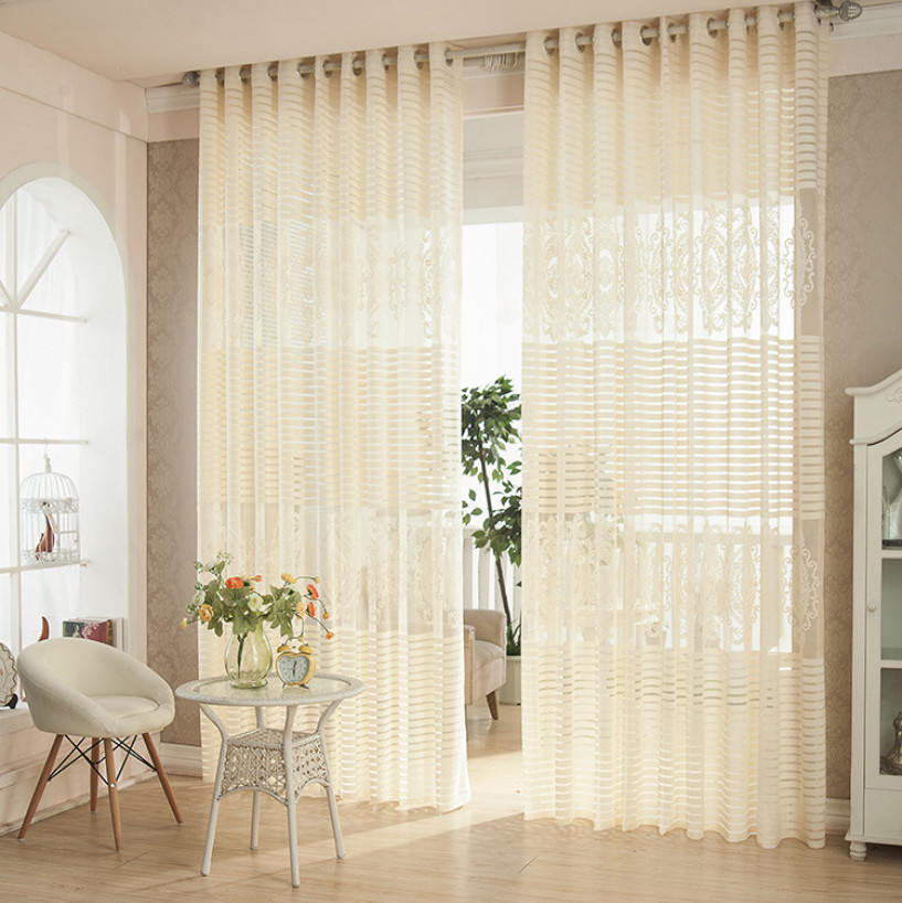 Light Yellow Embroidery Curtain Tulle Panel Sheer Yarn