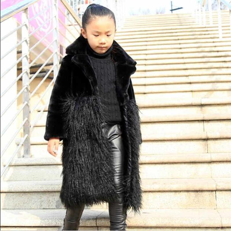 2018 Mới Mùa Thu Và Mùa Đông Trẻ Em của Cô Gái Quần Áo Faux Fur Coat Dài Cậu Bé Hàn Quốc Áo Gió Đơn ngực Áo Khoác Áo Khoác QV77