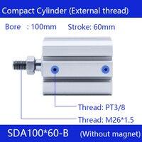 SDA100 * 60 B Бесплатная доставка 100 мм диаметр 60 мм ход внешней нити компактные Воздушные цилиндры двойного действия Воздушный пневматический ц