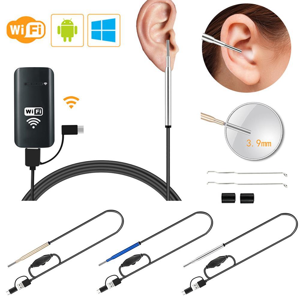 3.9 MM WiFi oreille Endoscope outils de nettoyage sans fil numérique oreille Otoscope caméra d'inspection avec 6 Led lumières Endoscope avec paquet
