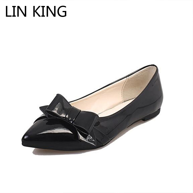 LIN KING New Pointed Toe Women Flats Shoes Fashion Slip On Lazy Shoes Sweet Bowtie Casual Shoes Comfortable Pregnant Woman Shoes new 2017 spring summer women shoes pointed toe high quality brand fashion womens flats ladies plus size 41 sweet flock t179
