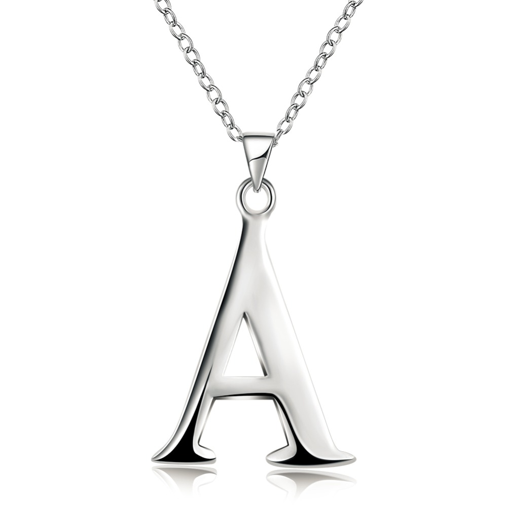 Hot Sales Silver Color Letter Pendant Necklace A C D E F H I J K L M P Q R T U V W X Classic Fashion Woman Jewelry Birthday Gift ...