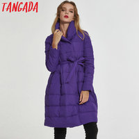 Tangada 2017 Thick Women Quilted Parkas Long Women Cotton Padded Jacket Womens Winter Vintage Purple Jackets Coats New LA04