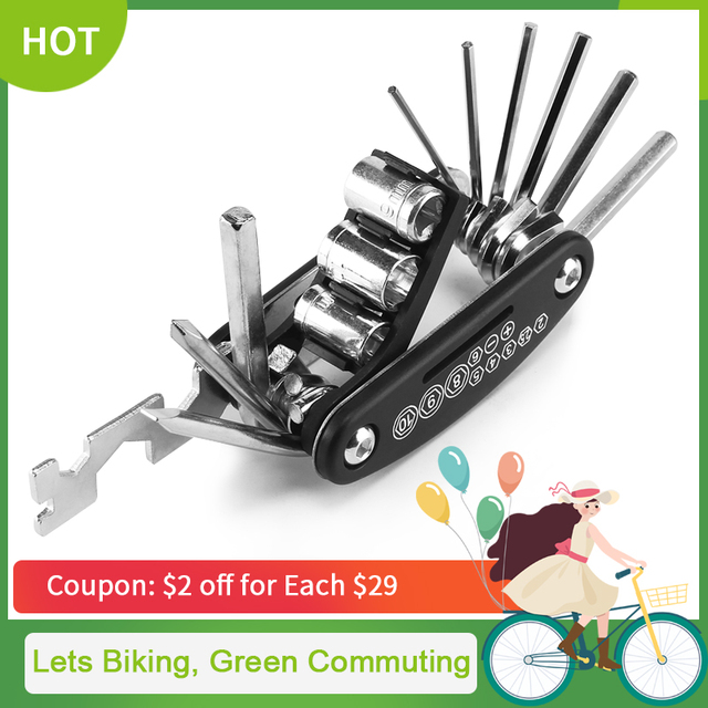 16 in 1 Multifunction Bicycle Repair Tools Kit Hex Spoke Cycling Screwdriver Tool MTB Mountain Cycling Bike Repair Tool CT-101