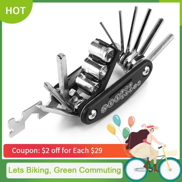 Kit de herramientas de reparación de bicicleta multifunción 16 en 1, destornillador hexagonal para ciclismo, herramienta de reparación de bicicleta de montaña MTB CT-101