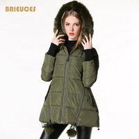 Brieuces 2017 winter jacket women star Quilting design gloves winter coat women hooded large fur parka plus size army green