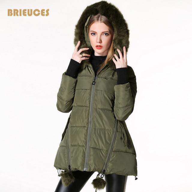 Mulheres jaqueta de inverno 2016 novo chegada estrela projeto Quilting luvas mulheres casaco de inverno com capuz grande pele parka plus size exército verde