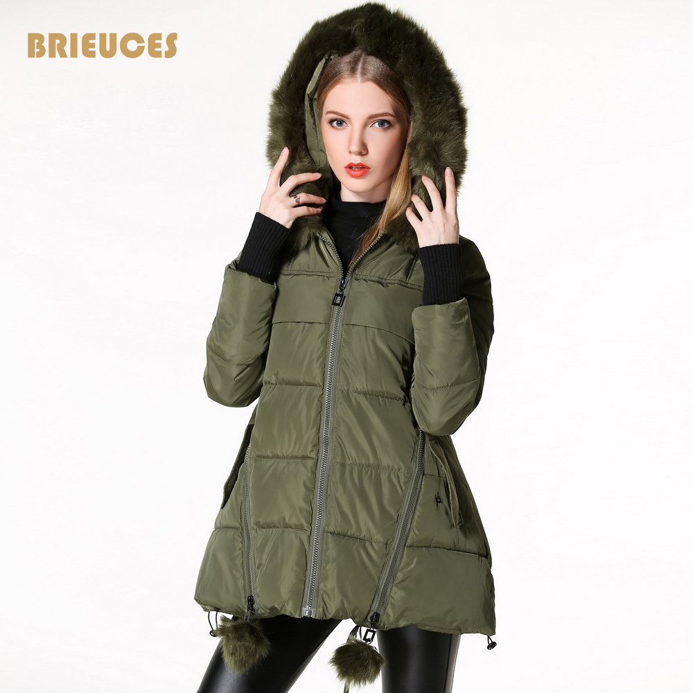 ФОТО winter jacket women 2016 new arrival star Quilting design gloves winter coat women hooded large fur parka plus size army green