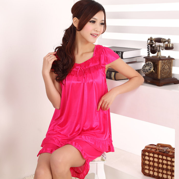 Hot ~ 2015 new summer fashion girls short sleeve sexy thin silk pajamas home service package free home delivery