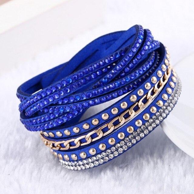 2016 Venda Quente 10 Cores Do Vintage pulseira de couro Cadeia & pulseiras para mulheres pulseras Moda Jóias Mulheres