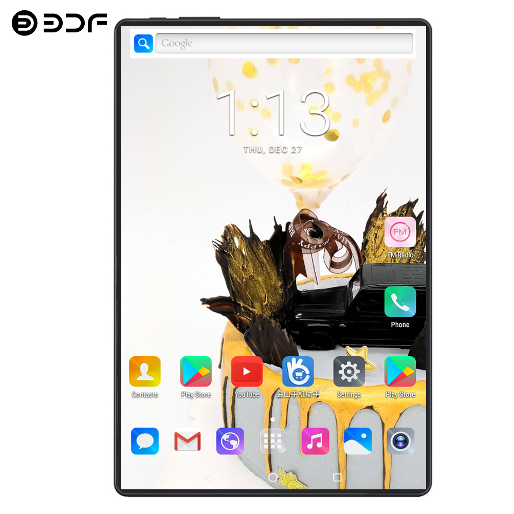 BDF 10 Inch Android 9.0 Tablet Pc 10/Ten Core 1280*800 IPS 8GB/128GB Tab 4G LTE Dual SIM Card 5.0MP Dual Camera Pc Tablets 10.1
