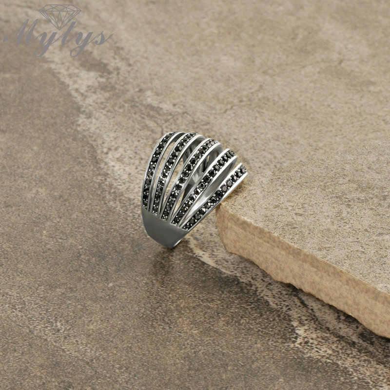 Mytys ใหม่มาถึงหญิงแหวนเพชรสีดำสีขาวสี Retro Design โบราณแหวน R1028