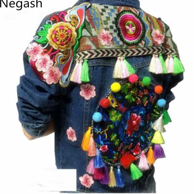 National Jaqueta Jean Fringe Bleu Floral Negash Bohême Main Veste Chaqueta Survêtement Gland Bordado Broderie Femmes Denim TwEXxqnI