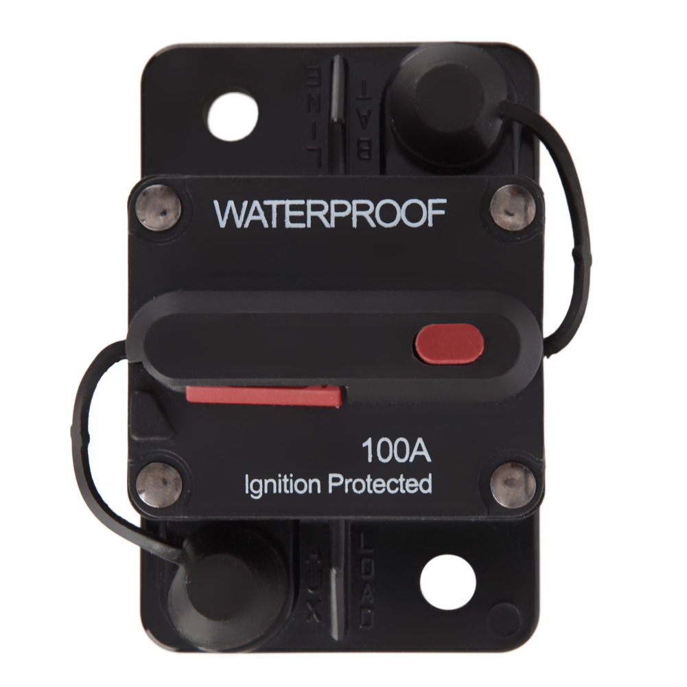 100Amp 12v/24v Waterproof Manual Reset Circuit Breaker Flush-Mount Boat Trolling Motor Accessory