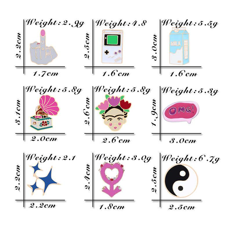 Vintage Spille k Fonografo Tai Chi Smalto Spilli Latte Star OMG Spilla per Le Donne Giubbotti Risvolto Button Badge Spille Gioelleria raffinata e alla moda regalo