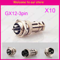10set=20pcs 3 Pin 12mm Wire Panel Connector kit GX12 Socket+Plug,RS765 Aviation plug interface