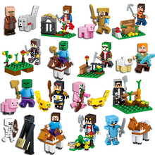 16 pçs/lote Figuras de Ação Minecraft Steve Alex Zombie Skeleton Enderman Rúben Arma Compatível Com Blocos brinquedos para as crianças # E